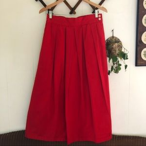 Vtg Red Pleated Maxi Skirt